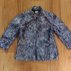 Metallic Blue Chico's Jacket 3/4 Sleeve Size 0
